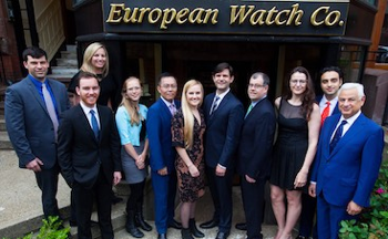 Photo of the European Watch Company's Staff outside their brick and mortar shop in Boston.